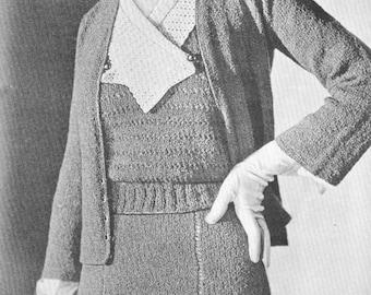 1930s Vintage Chic 3 Piece Suit Knitting Pattern PDF 3204