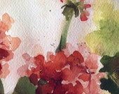 My mothers Geraniums watercolor print