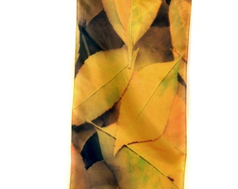 "SILK SCARF  -  ""Ash""  Fine Art Leaves Image on Habotai Silk  - 14"" x 72"" - wearable art by Kathe LeSage - gorgeous gift for nature lovers"