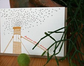 lark press letterpress greeting card of the Vaux's swifts Portland Oregon Chapman Elementary School