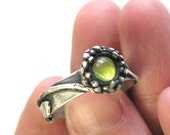Dandelion In the Round sculptural ring with light green Peridot cabochon stone in Fine silver and Sterling