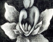 PRINT Lovers, Lotus Blossom, black and white art print, soulmates art, lotus blossom, lily, spiritual art, zen painting