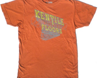 Mens Kentile Floors T Shirt in Rust Orange, Historic Brooklyn Sign