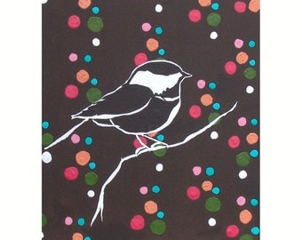 Nursery Bird Art Dotty Chickadee Painting Sparrow Decor Nature Woodland Multicolor Polka Dots