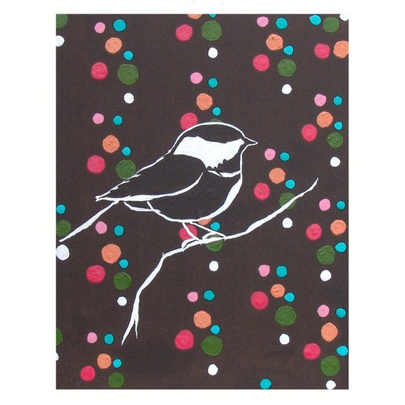 Nursery Bird Art Dotty Chickadee Painting Sparrow Decor Nature Woodland Multicolor Polka Dots