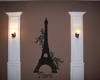 Wall Decal Eiffel Tower-Paris in Summer Wall Decal/ Wall Graphic-LARGE wall transfer