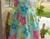 Spring dress, Child print dress, ready to ship in size 7/8, Only 1 available at this price