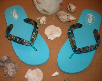 Turquoise Flip Flops/Thongs/Womens Sandals/Flip Flops/Spring Break Flip Flops/Beaded Flip Flops/Gift for Her/Tropical Paradise  Flip Flops