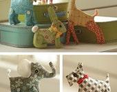 Miniature Menagerie Digital Sewing Pattern PDF - 6 stuffed animals to sew including cat, dog, giraffe, pig, rabbit, elephant