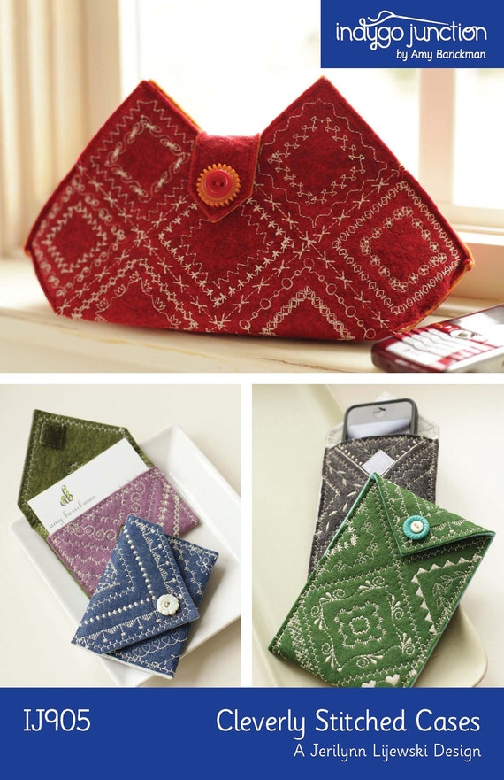 Cleverly Stitched Cases Digital Sewing Pattern PDF - create clutch, cell phone and business card case from felt or wool