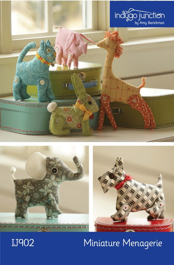 Miniature Menagerie Digital Sewing Pattern PDF - 6 stuffed animals to sew including cat, dog, giraffe, pig, rabbit, elephant