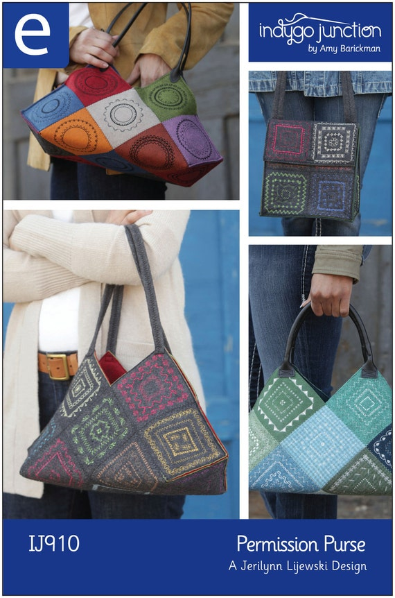 Permission Purse Digital Sewing Pattern PDF - create purse and lunchbag style tote with decorative stitching with standard sewing machine