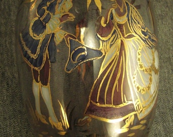 Glass DECANTER Enamel Design FRENCH Courting Couple GOLD accents