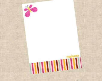 PRINTABLE Girls Butterly Personalized Printable Flat Note Cards Stripes DIY