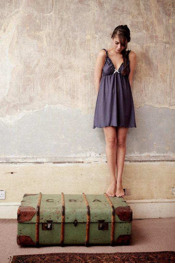 Lingerie set - Nightgown + panty - Organic nightwear, babydoll nightie, pajamas, organic cotton + soy, sleepwear, plus size, pregnancy,bride