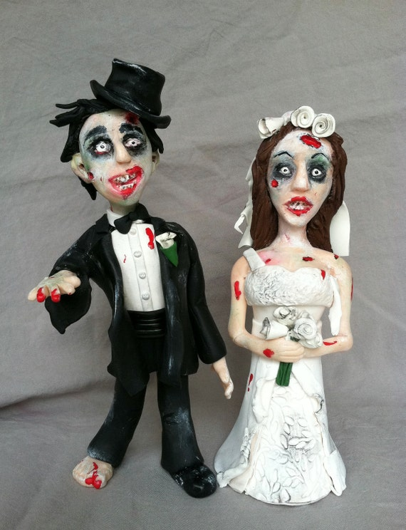 GOTH ZOMBIE Wedding Cake Topper Bride Groom HALLOWEEN Gothic