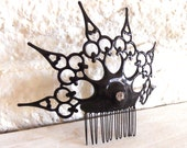 Gothic Clock hand Hair Comb Night Circus Chic black with crystal ornate hair Ornament- Nevermore