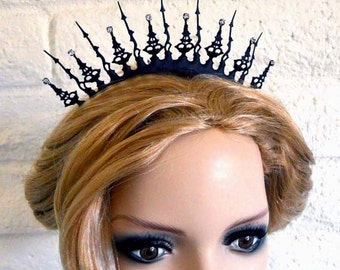 Tiara Black Clockhand Steampunk Noir Victorian inspired Black with Crystals perfect steampunk gothic bride or the evil queen in all of us