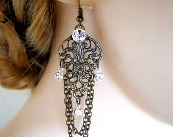 Neo Victorian Earrings Antiqued Brass with crystals and chains Victorian Inspired