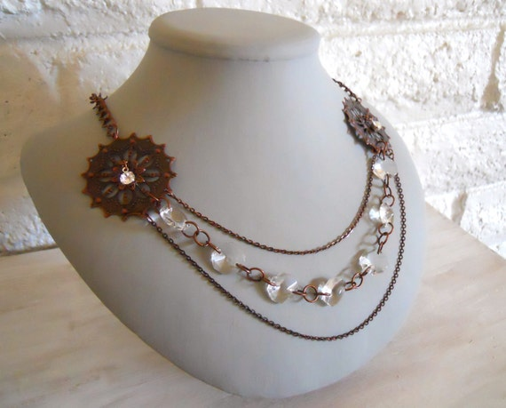 Reserved for Karina: Steampunk Lady's Necklace Multi Strand Vintage Inspired Copper, with Crystals