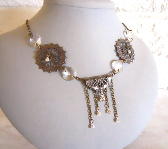 Antique brass necklace filigree ornaments brass and crystals- A trist with Beardsley