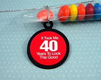 40th Birthday Candy Treat Bag Favors - It Took Me 40 Years To Look This Good, Set of 12, Red and Black