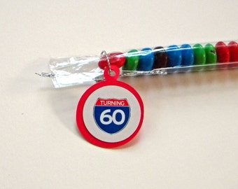 60th Birthday Candy Treat Bag Favors Set of 12 - Turning 60, Red, White, Blue