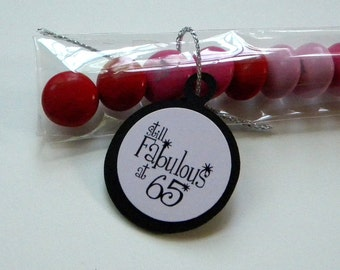 65th Birthday Party Favors, Candy Treat Bags - Still Fabulous at 65, Pink and Black