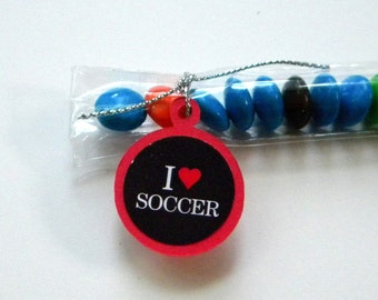 Soccer Candy Treat Bag Favors, Red, Black, Set of 12