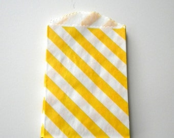 Favor Bags, Striped, Yellow and White, Little Bitty, Set of 25, 2 3/4 by 4 inches, Stripes