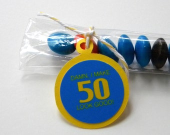 50th Birthday Party Favors - Damn I Make 50 Look Good, Set of 12 Candy Treat Bags - Blue, Yellow