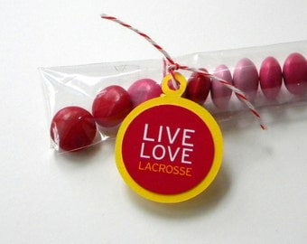 Lacrosse Party Favors, Candy Treat Bags, Live, Love, Set of 12, Red, Yellow