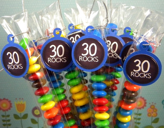 30th Birthday Candy Treat Bags - 30 Rocks Set of 12