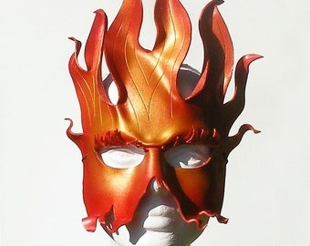Fire - leather costume mask - red, with dusting of gold - made to order
