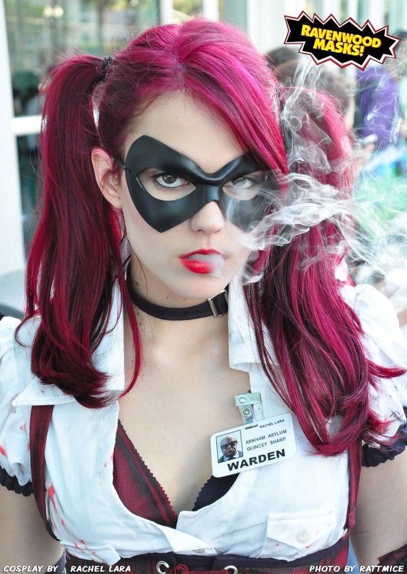 Leather mask, Harley Quinn costume, Robin cosplay, Adult Haloween costume - Supermask - Made to Order