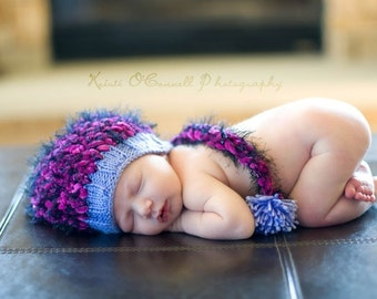 Baby Hat, Newborn Knit Hat, Baby Photo Prop, Newborn Photo Prop, Photography props, Photo Props, Stocking hat, Purple Baby Hat