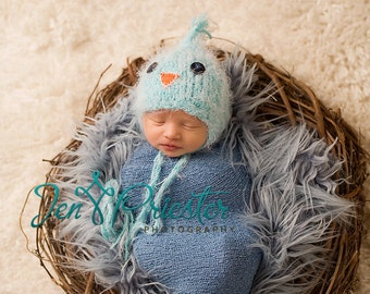 Baby Hat, Knit Newborn Hat, Photography Prop, Newborn photo prop, Blue Bird Baby Hat, Baby Photo Prop Little BlueJay Hat