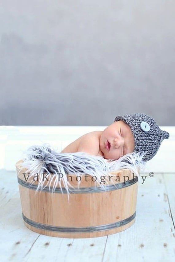 NewBorn Baby Hat, Baby Hat, Button Hat, Newborn Photo Prop. Baby Boy Hat, Gray Hat