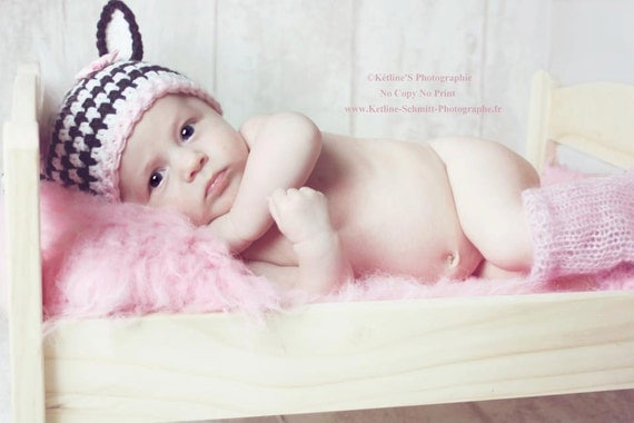 Little Zebra Hat,  Knit Newborn Hat, Baby Girl Hat, Baby Photo Prop