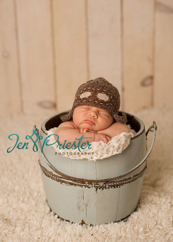 Baby Hat, Aviator Hat, Knit Hat, Newborn Photo Prop, Baby Prop, Newborn Hat, Aviator Bomber Hat Newborn Baby hat