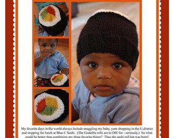 Infant and Child Sushi Roll Hat Pattern - PDF