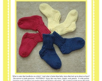 Basic Baby Sock in Worsted Weight Pattern PDF