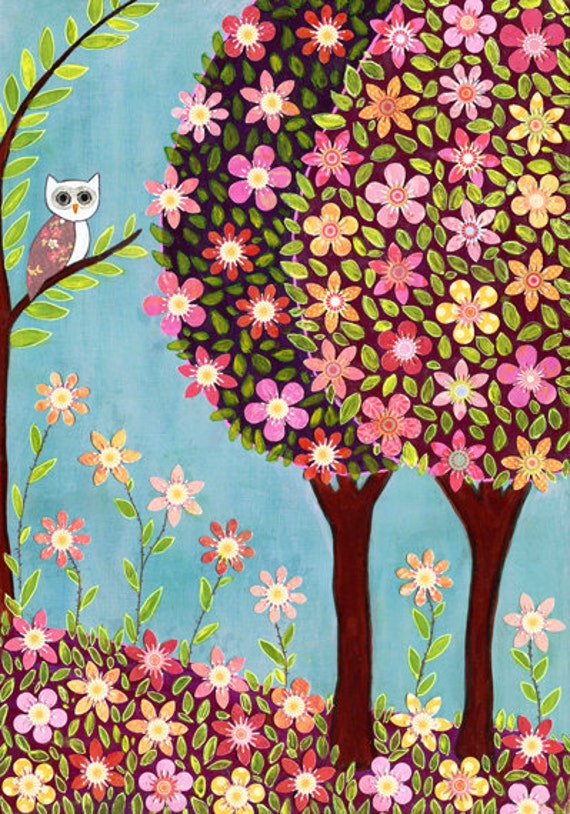 Owl Art Print - Owl Painting - Owl Nursery Decor Print - Children Decor - Wooden Art Block Print