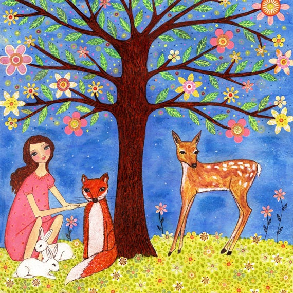 Woodland Animals Painting,  Art for Nursery Decor, Children Bedroom Decor,Girl with Deer, Fox and Rabbits, Art for Nursery Decor