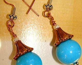 Copper and Sterling Silver Turquoise Earrings