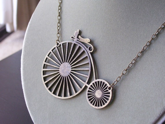 Bicycle necklace, old fashioned bicycle necklace, penny farthing necklace, antique brass necklace, unique holiday gift, gift ideas for geeks
