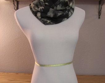 Infinity Scarf - Waterfall Scarf - Long Cowl - Black Gray Cream Floral - Silky Satin Peachskin