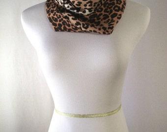 Infinity Scarf - Waterfall Scarf - Long Cowl - Brown Black Tan Leopard Print - Silky Satiny Peachskin