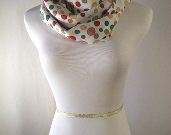 Long Infinity Scarf - White with Multi Color Dots - Waterfall Scarf - Silky Satin Peachskin
