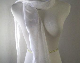 Long  Scarf - Crinkled Silky Satin Scarf - Snow White Scarf - Shiny White Scarf - Dressy Scarf